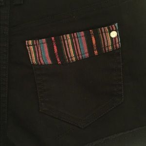 Tinsel Shorts - Black Jean Shorts with Tribal Fabric Detailing